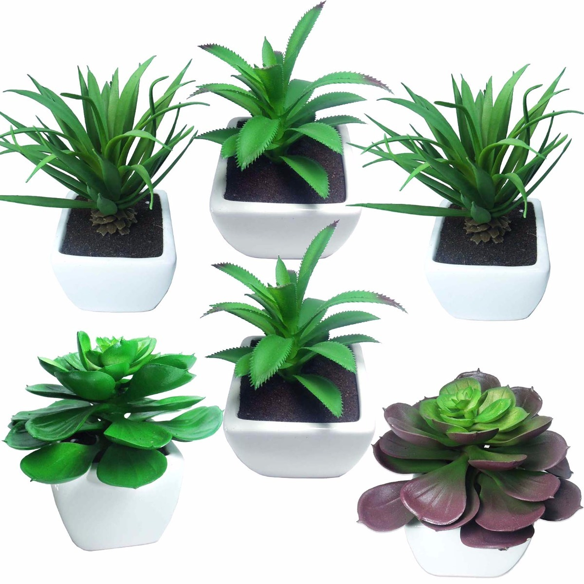 Mini Suculenta Plantas Artificiais Decorativas Com 6 Unid