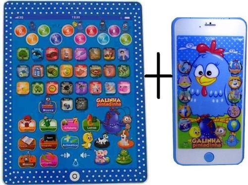 mini tablet infantil + celular iphone 3d galinha pintadinha
