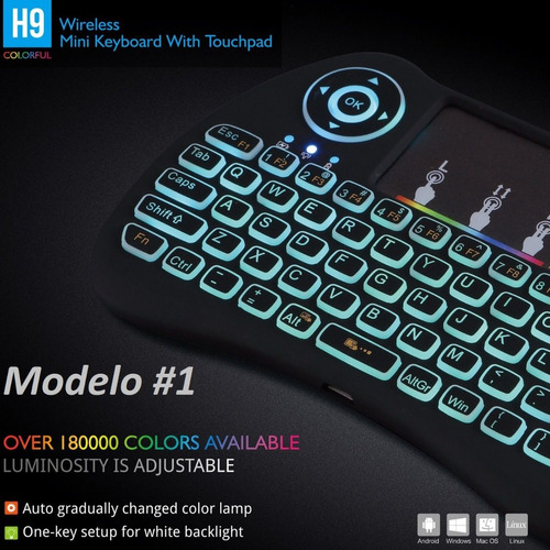 mini teclado air mouse inalambrico luz led smart tv box