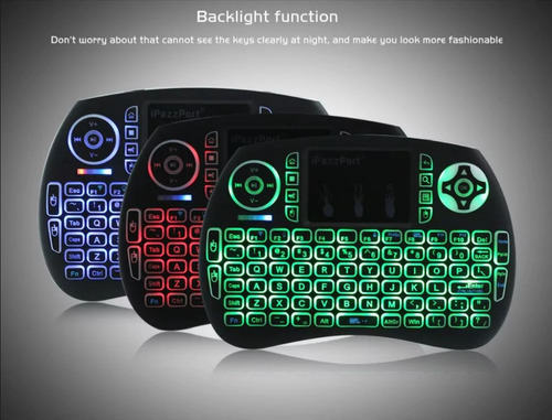 mini teclado air mouse inalambrico luz led smart tv box rcp1