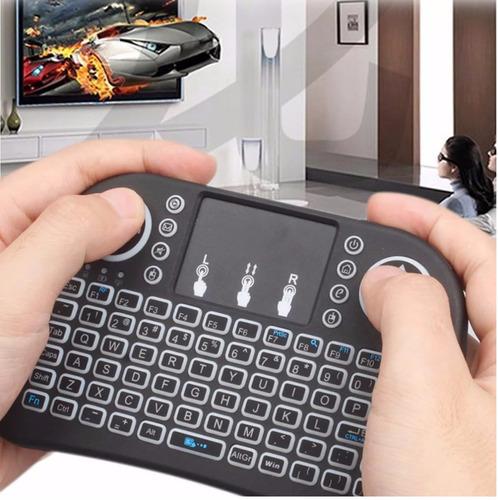mini teclado android inalambrico touchpad smart tv luz led
