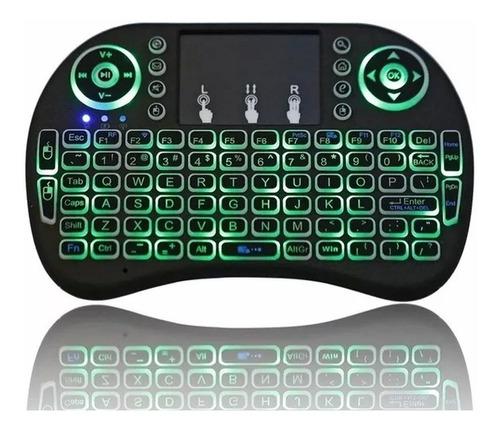 mini teclado iluminado android inalambrico touchpad smart tv