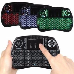 mini teclado iluminado rgb inalambrico pc smart tv box rcp1