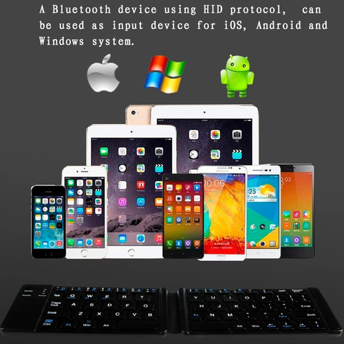 mini teclado inalambrico bluetooth recargable plegable -slim
