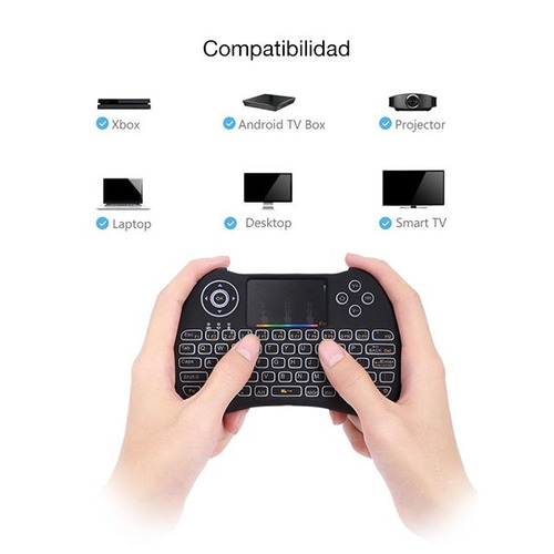 mini teclado inalámbrico h9 tv box android smart tv pc luces
