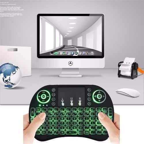 mini teclado inalambrico retroiluminado, touchpad, smart tv