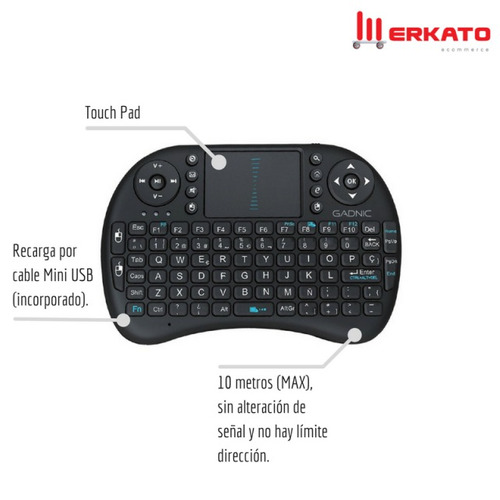 mini teclado inalambrico smart tv netflix notebook touchpad