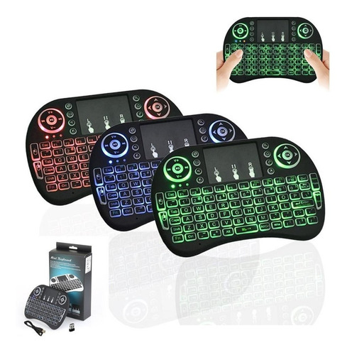 mini teclado inalámbrico touchpad smartv pc tvbox 3 colores