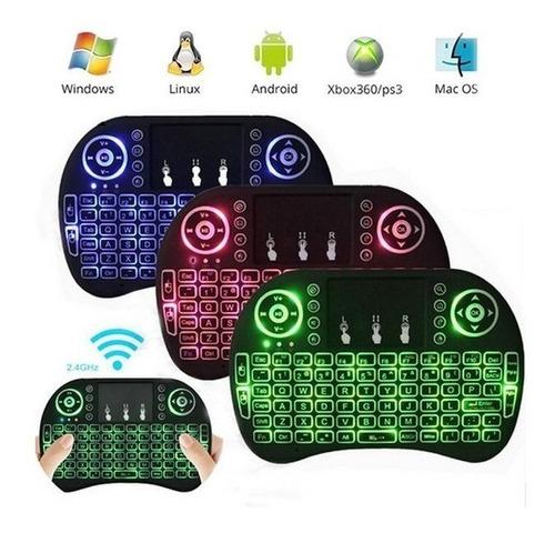 mini teclado wireles retroiluminado para smart tv box ps3