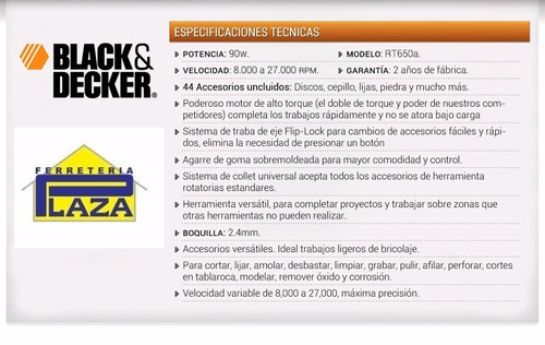 mini torno manual black & decker 90w c/44 accesorios