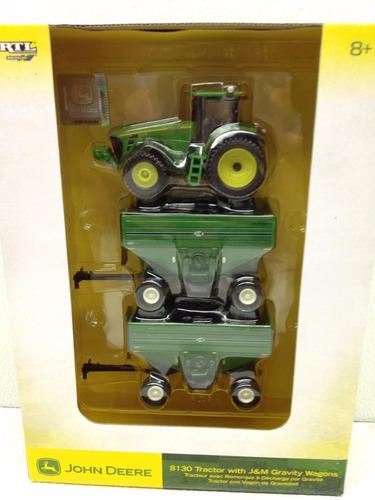 mini trator john deere 8130 + 2 carretões graneleiros - 1/64