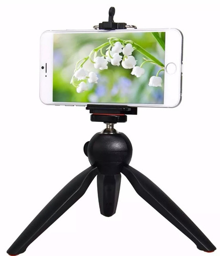 mini tripé de mesa + suporte para celular kit youtubers
