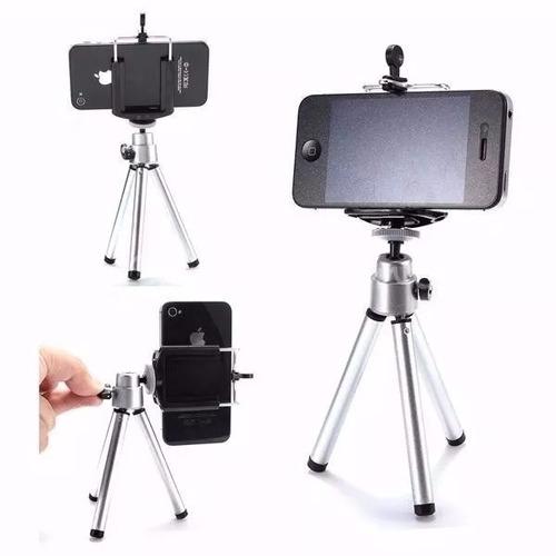 mini tripé universal celular câmera iphone galaxy + suporte