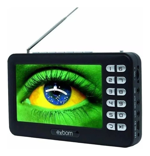 mini tv digital portátil hd tela 4.3 monitor usb sd rádio fm