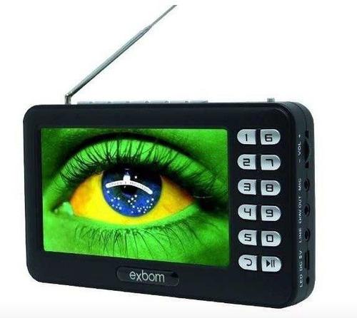 mini tv digital portátil hd tela 4,3 rádio fm entrada usb sd