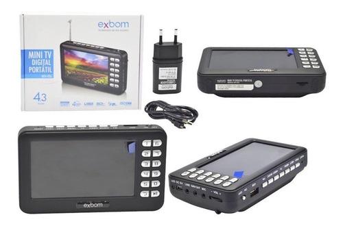 mini tv digital portátil hd tela 4.3 usb sd rádio fm bateria