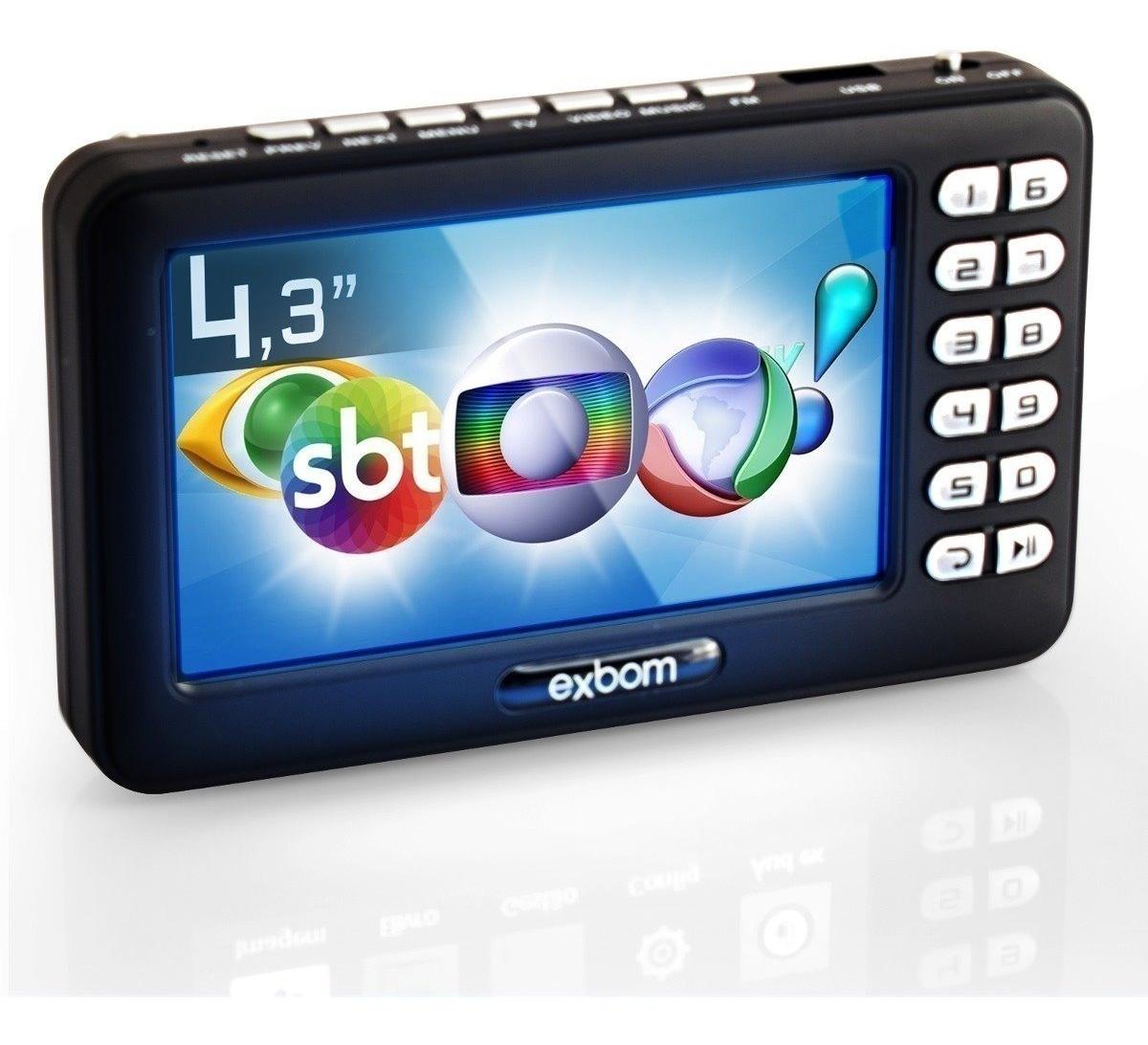 Mini Tv Digital Portátil Hd Tela 4.3 Usb Sd Rádio Fm ...
