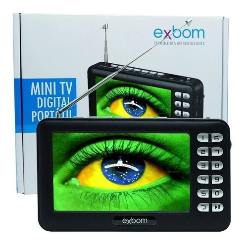 mini tv digital portátil hd tela 4.3 usb sd rádio fm exbom