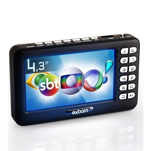 mini tv digital portátil tela 4.3 usb sd rádio fm isdbt