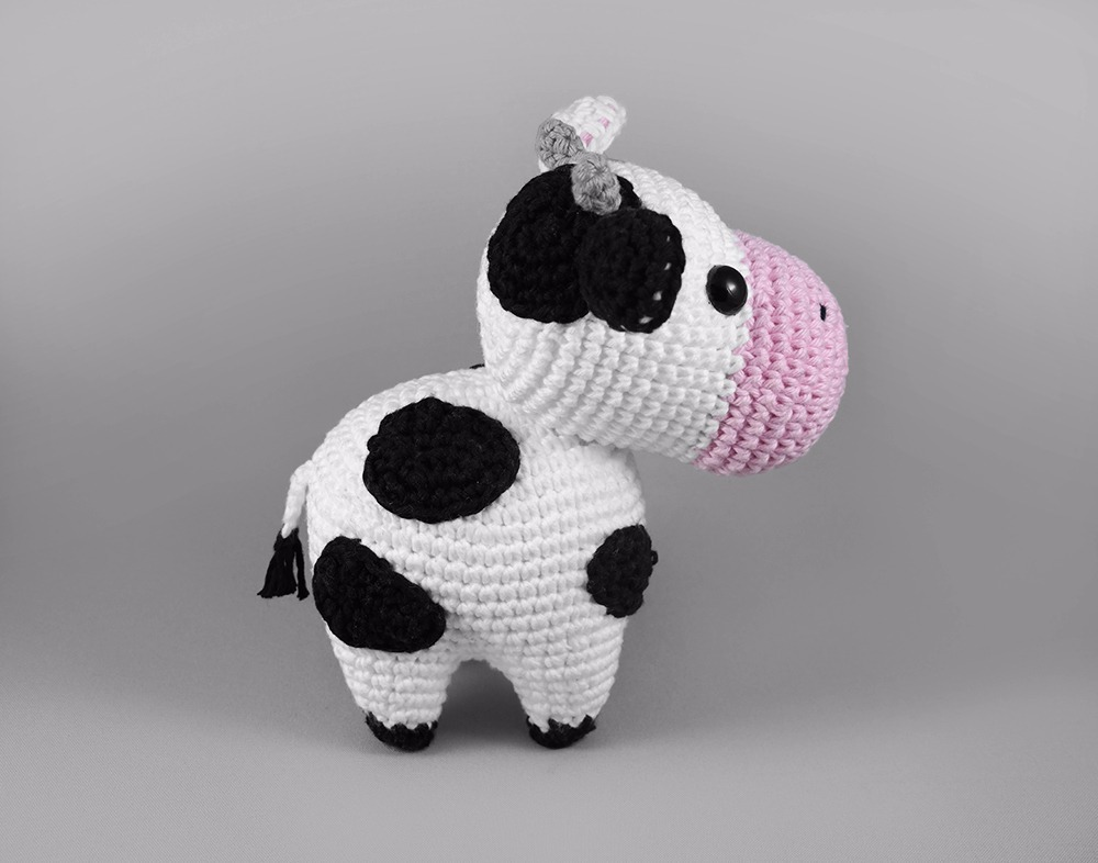 Amigurumi Vaca : Mini vaca boi amigurumi croche boneco bicho pelucia r em