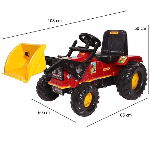 mini veiculo trator a pedal farmer vermelho c/ pá biemme