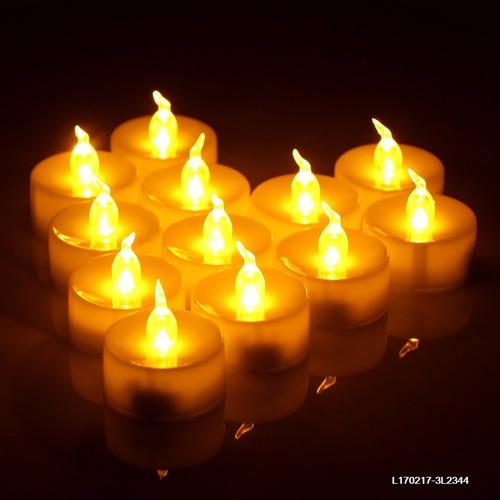 mini vela luz cálida led c/pila souvenirs fiestas - set x 12
