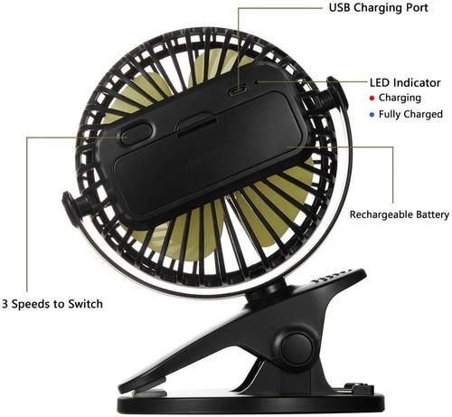 mini ventilador bateria recargable 3 velocidades 360grados