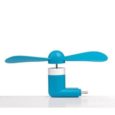 mini ventilador usb micro para teléfonos o tabletas, azul