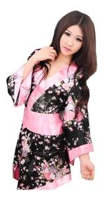 7d79244cb Mini Vestido Chino Tipo Kimono Negro Y Flores Cinta Rosa