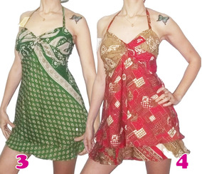 00f66fffe Mini Vestido Corto Hindú Seda Rayon Hippie Chic India Boho