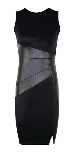 mini vestido de fiesta noche bodycon de cuero sin mangas