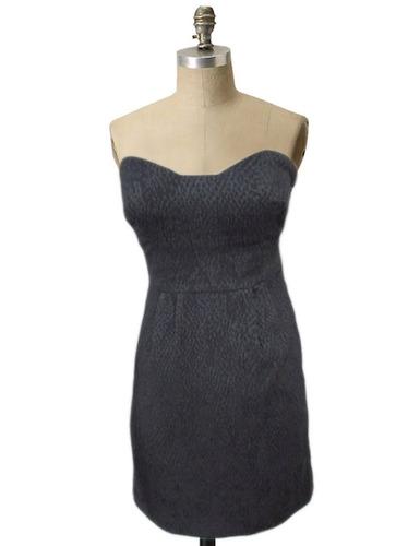 mini vestido de noche bcbg color gris, sin tirantes talla 0