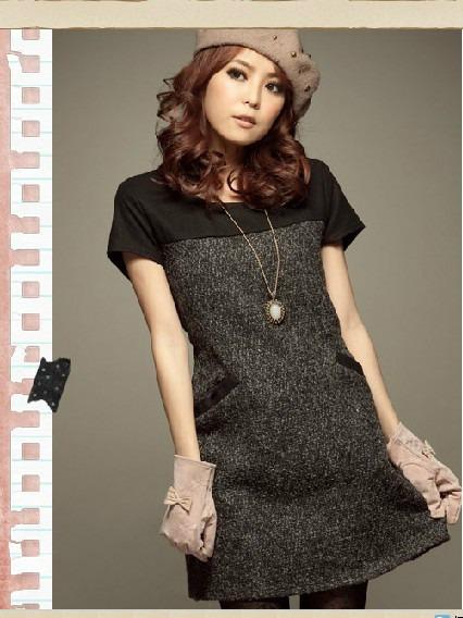 509f16fbf8 Vestido gris con negro – Vestidos baratos