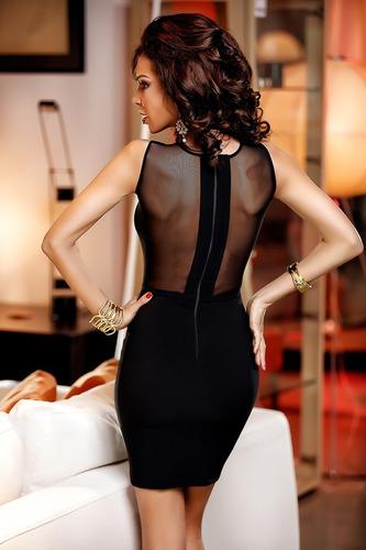 mini vestido negro con encaje y aplique