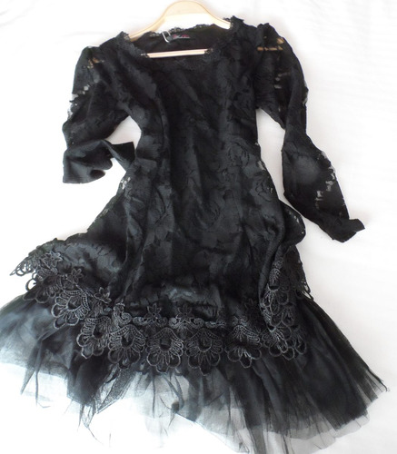 mini vestido party negro encaje - urban outfitters - s