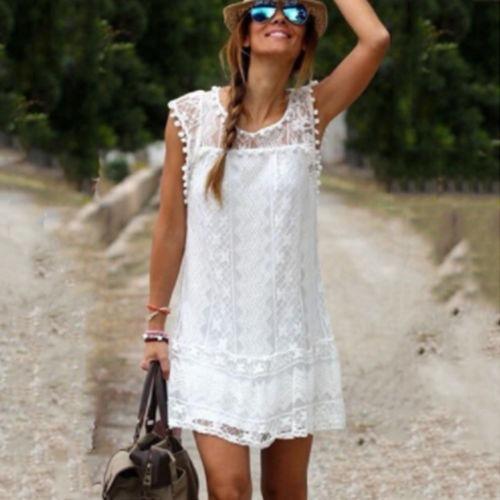 a70e39f0e9 Mini Vestido Playa Blanco Encaje Boho Bohemian Mng -   699.00 en ...