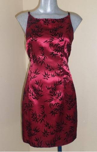 mini vestido satinado talla 28/30 estampado estilo oriental