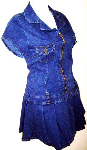 mini vestido tableado mezclilla stretch tallas extra 40 a 48