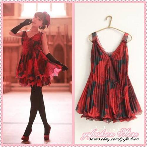 mini vestido vermelho. estampado e plissado. importado!!!