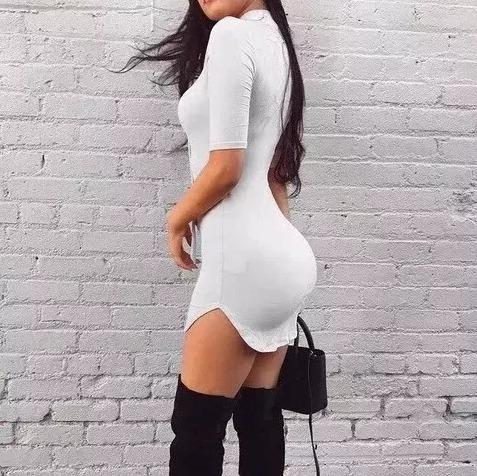 mini vestido vestidos ajustado sexy entallado manga corta