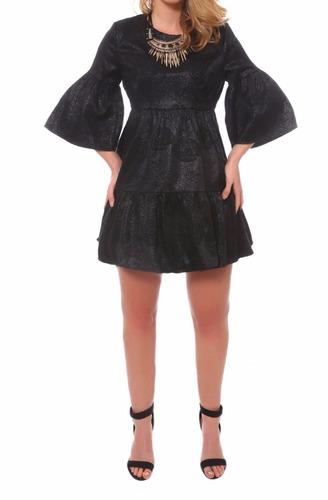 mini vestido vintage flor negro coctel retro imperio coctel