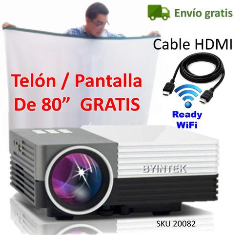 mini video beam proyector 3d texto power point gratis telon