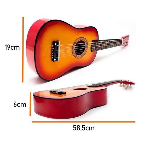 mini violão palheta crianças infantil corda em aço acústico