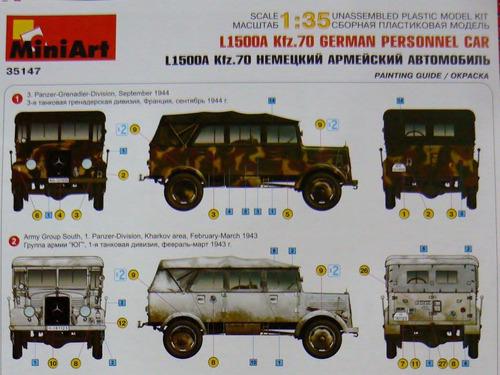 miniart 1/35 35147  mb l1500 a kfz 70 german personnel car