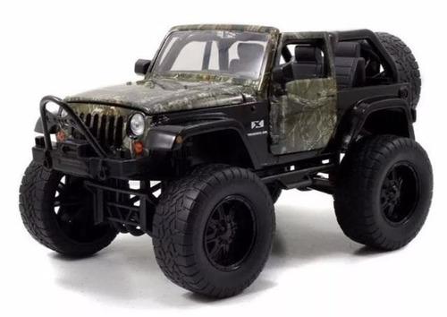 miniatura 2007 jeep wrangler realtree com figura cão camufla