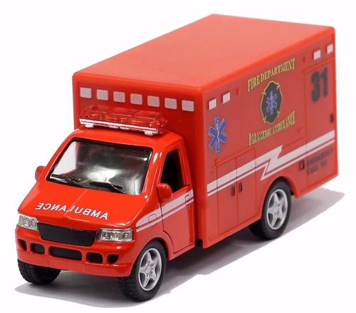 miniatura ambulância corpo de bombeiros americano vermelho