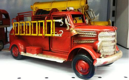 miniatura artesanal metal retro caminhão corpo de bombeiros
