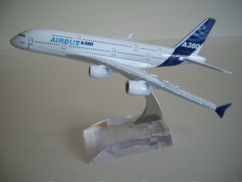miniatura avião a380 18 cms. metal com base