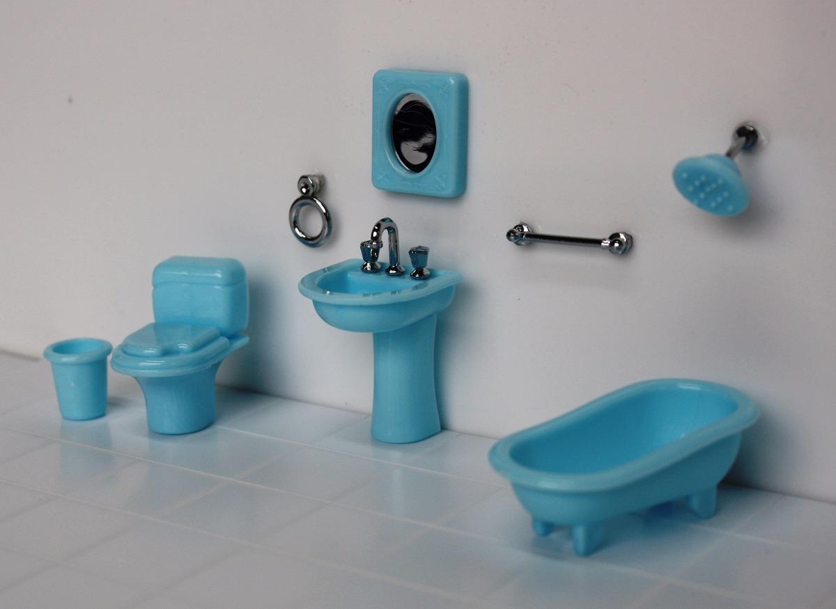 Miniatura Banheiro Artesanato Quadrinhos Ou Casa De Bonecas  R$ 32,00 em Me -> Objetos Para Pia De Banheiro