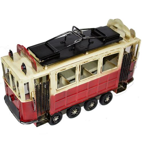 miniatura bondinho trem decorativo vintage retro latão 23cm
